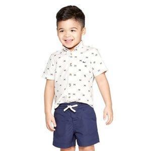 Boys Fishbone Short Sleeve Woven Button-Down Shirt